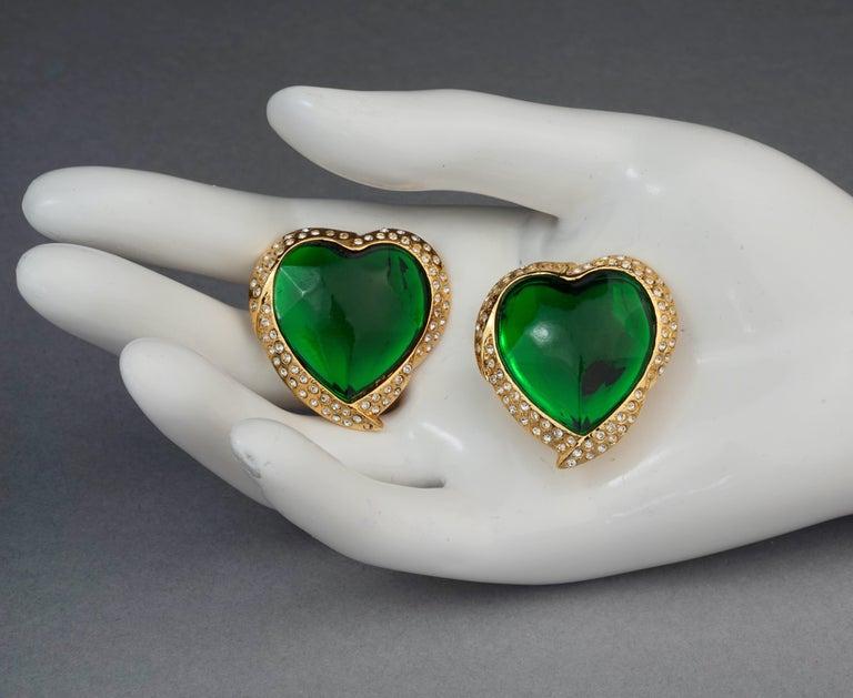 Vintage YVES SAINT LAURENT Ysl Emerald Green Faceted Heart Rhinestone Earrings For Sale 6
