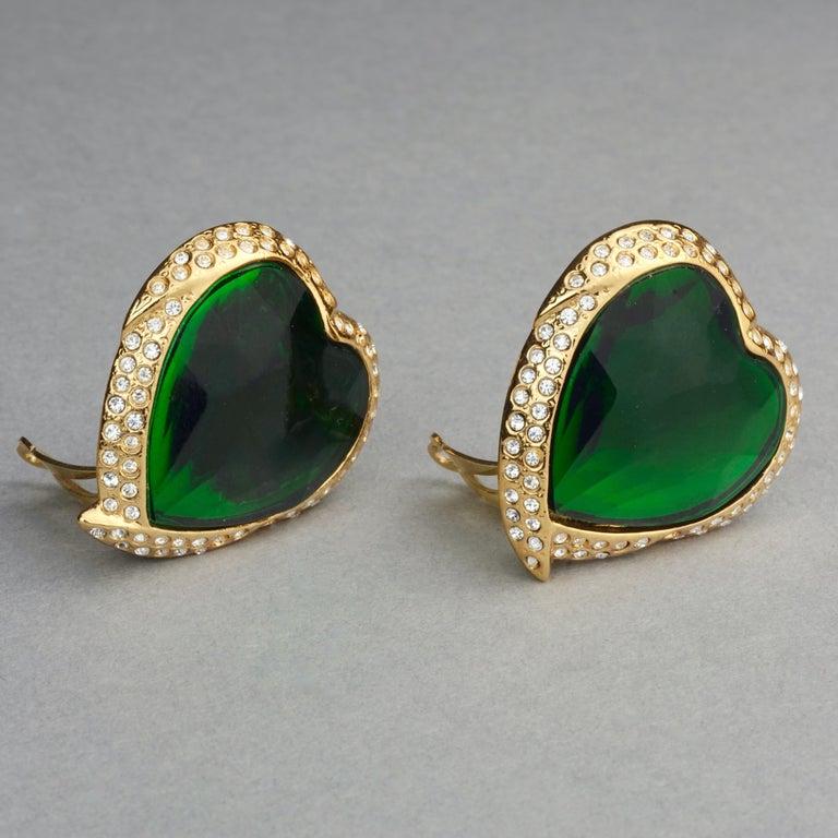 Women's Vintage YVES SAINT LAURENT Ysl Emerald Green Faceted Heart Rhinestone Earrings For Sale