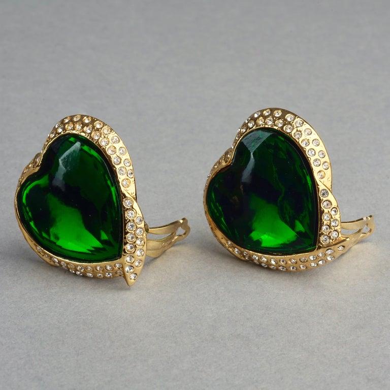 Vintage YVES SAINT LAURENT Ysl Emerald Green Faceted Heart Rhinestone Earrings For Sale 1