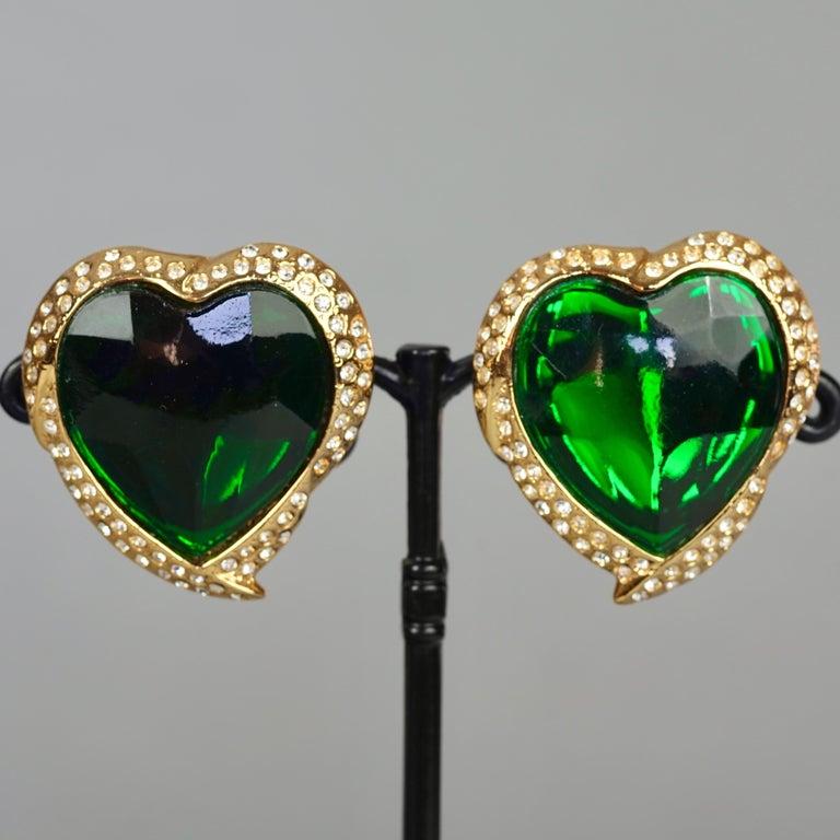 Vintage YVES SAINT LAURENT Ysl Emerald Green Faceted Heart Rhinestone Earrings For Sale 3