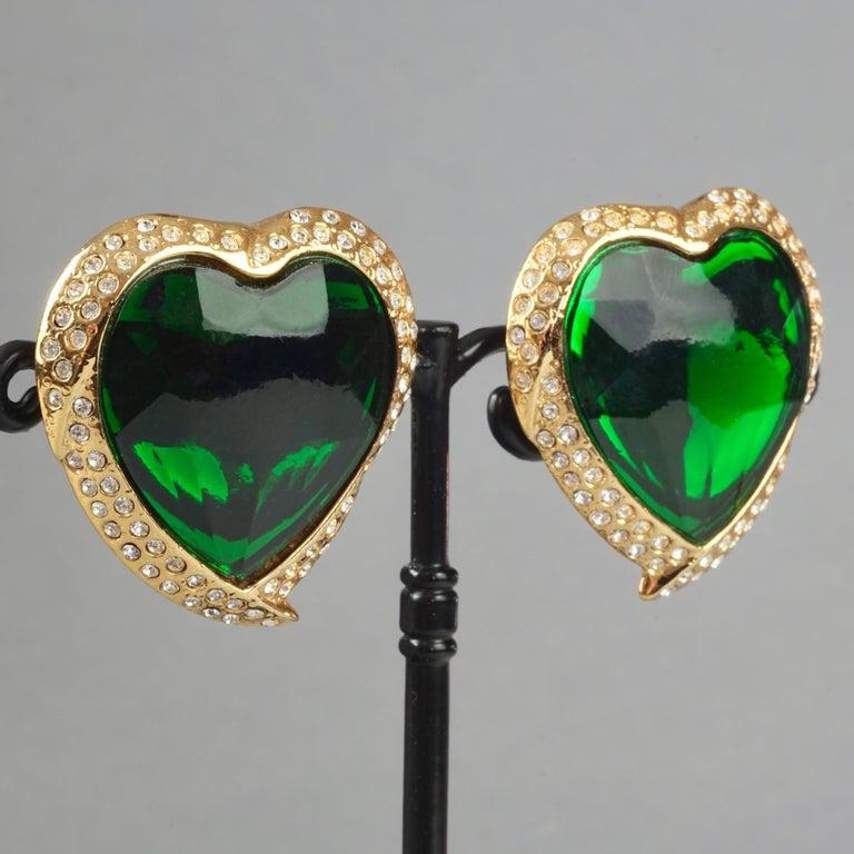 Vintage YVES SAINT LAURENT Ysl Emerald Green Faceted Heart Rhinestone Earrings For Sale 4