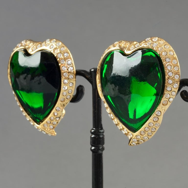 Vintage YVES SAINT LAURENT Ysl Emerald Green Faceted Heart Rhinestone Earrings For Sale 5