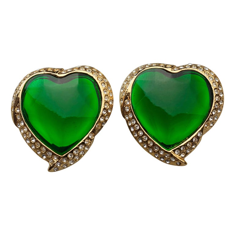 Vintage YVES SAINT LAURENT Ysl Emerald Green Faceted Heart Rhinestone Earrings For Sale