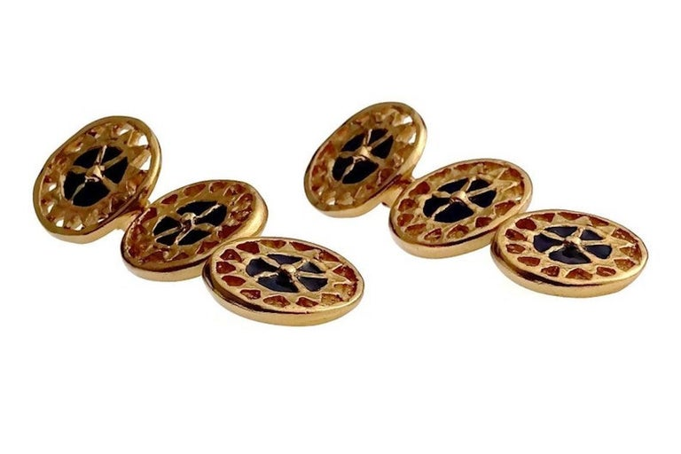 Vintage YVES SAINT LAURENT Ysl Enamel Tiered Disc Earrings  Measurements: Height: 2.67 inches (6.8 cm) Width: 0.86 inch (2.2 cm) Weight per Earring: 18 grams  Features: - 100% Authentic YVES SAINT LAURENT. - 3 Tiered double sided earrings: navy blue