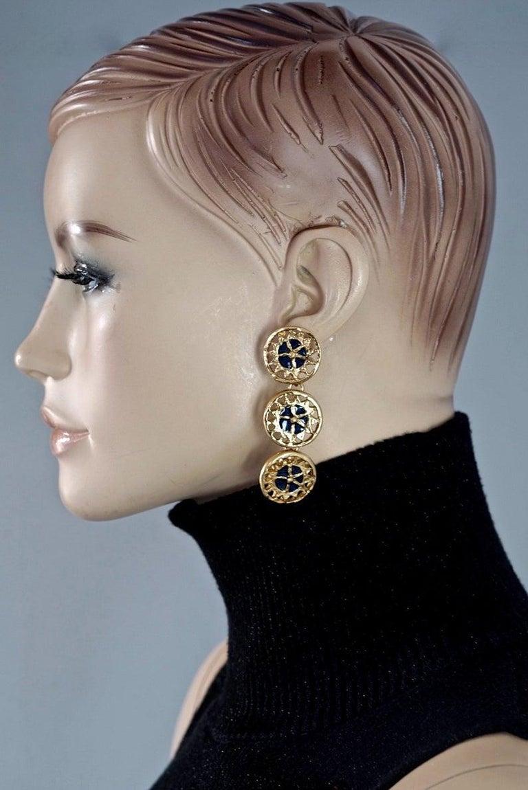 Women's Vintage YVES SAINT LAURENT Ysl Enamel Tiered Disc Earrings For Sale