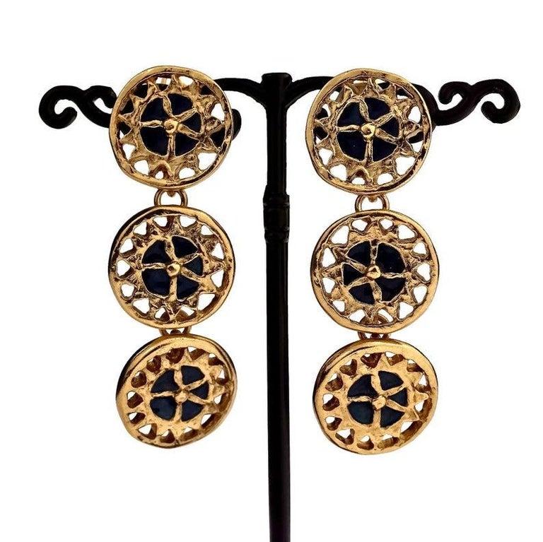 Vintage YVES SAINT LAURENT Ysl Enamel Tiered Disc Earrings For Sale 1