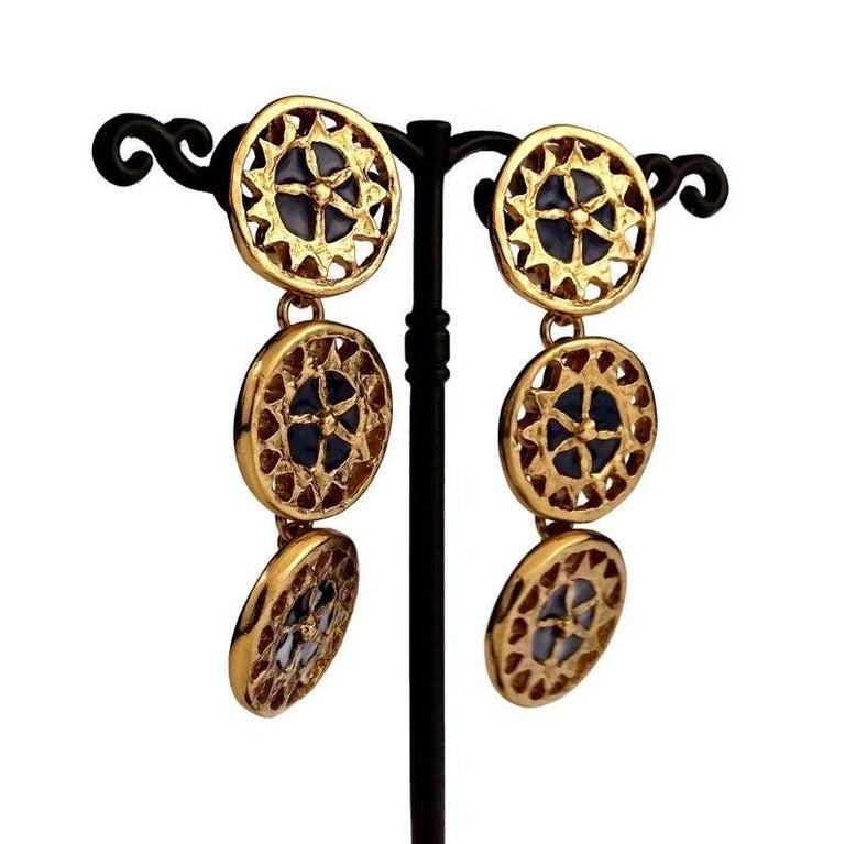 Vintage YVES SAINT LAURENT Ysl Enamel Tiered Disc Earrings For Sale 2