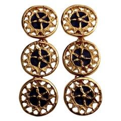 Vintage YVES SAINT LAURENT Ysl Enamel Tiered Disc Earrings
