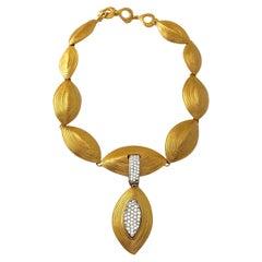 Vintage YVES SAINT LAURENT Ysl Etched Almond Rhinestone Choker Necklace