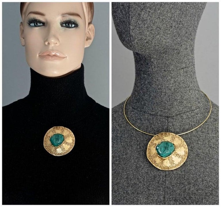 Vintage YVES SAINT LAURENT Ysl by Robert Goossens Ethnic Turquoise Stone Disc Medallion Pendant Brooch  Measurements: Height: 2.40 inches (6.1 cms) Width: 2.40 inches (6.1 cms)  Features: - 100% Authentic YVES SAINT LAURENT by Robert Goossens. -