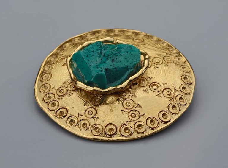 Women's Vintage YVES SAINT LAURENT Ysl Ethnic Turquoise Stone Medallion Pendant Brooch For Sale