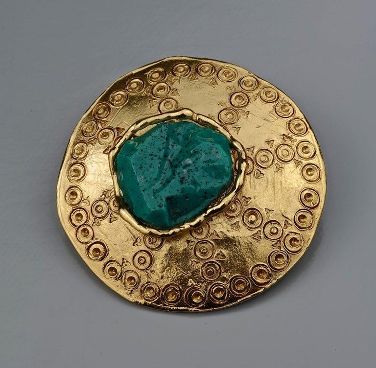 Vintage YVES SAINT LAURENT Ysl Ethnic Turquoise Stone Medallion Pendant Brooch For Sale 3