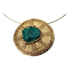 Vintage YVES SAINT LAURENT Ysl Ethnic Turquoise Stone Medallion Pendant Brooch