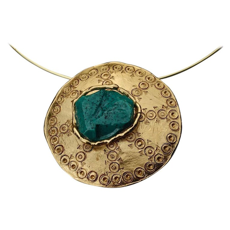 Vintage YVES SAINT LAURENT Ysl Ethnic Turquoise Stone Medallion Pendant Brooch For Sale
