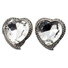 Vintage YVES SAINT LAURENT Ysl Faceted Heart Rhinestone Earrings
