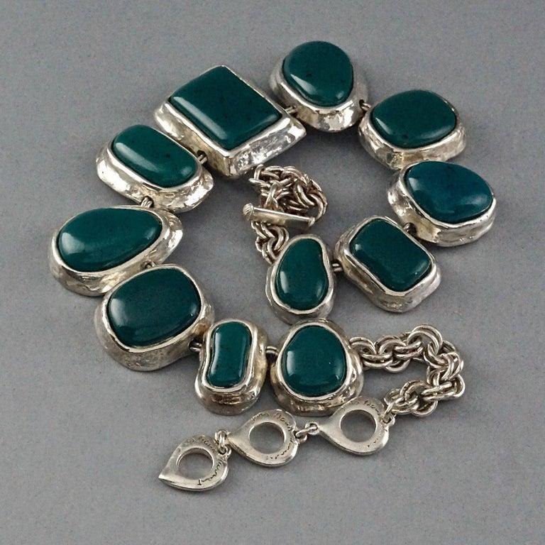 Women's Vintage YVES SAINT LAURENT Ysl Faux Turquoise Geometric Cabochon Necklace For Sale