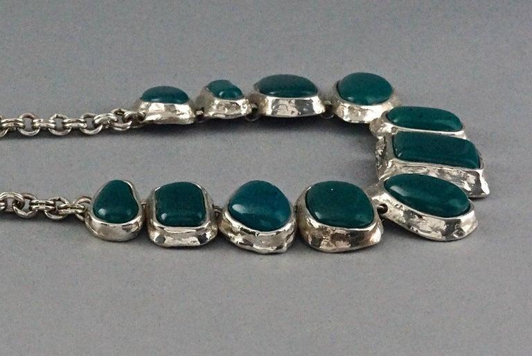Vintage YVES SAINT LAURENT Ysl Faux Turquoise Geometric Cabochon Necklace For Sale 1