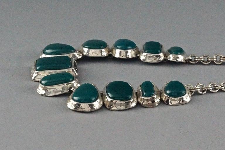 Vintage YVES SAINT LAURENT Ysl Faux Turquoise Geometric Cabochon Necklace For Sale 2