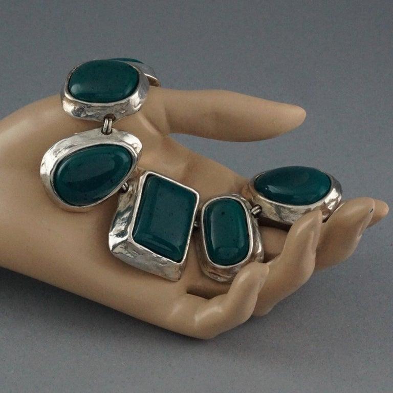 Vintage YVES SAINT LAURENT Ysl Faux Turquoise Geometric Cabochon Necklace For Sale 3