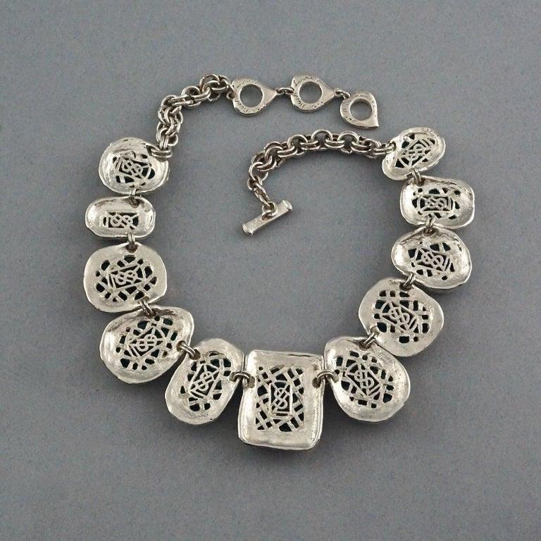 Vintage YVES SAINT LAURENT Ysl Faux Turquoise Geometric Cabochon Necklace For Sale 4