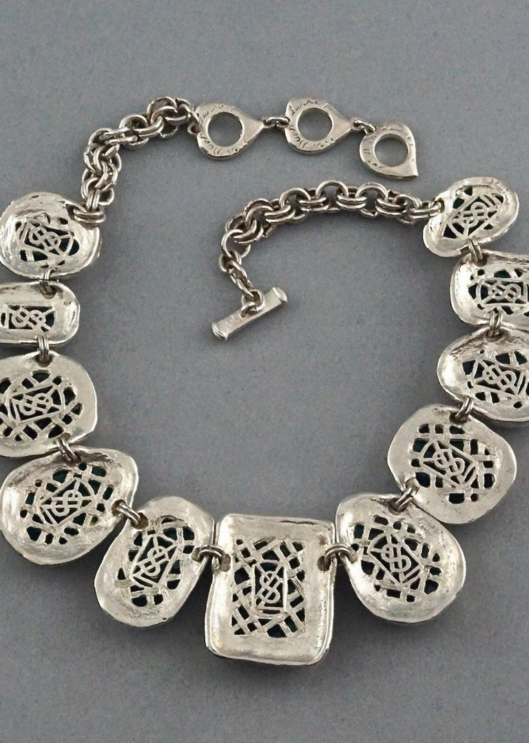 Vintage YVES SAINT LAURENT Ysl Faux Turquoise Geometric Cabochon Necklace For Sale 5
