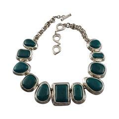 Vintage YVES SAINT LAURENT Ysl Faux Turquoise Geometric Cabochon Necklace