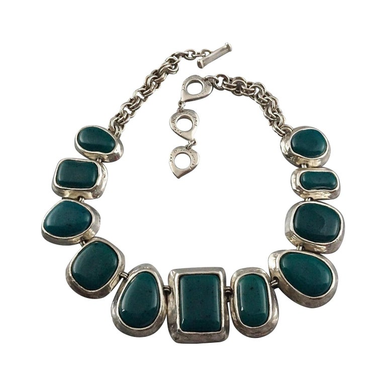 Vintage YVES SAINT LAURENT Ysl Faux Turquoise Geometric Cabochon Necklace For Sale