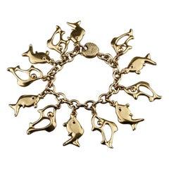Vintage YVES SAINT LAURENT Ysl Fish Charm Bracelet