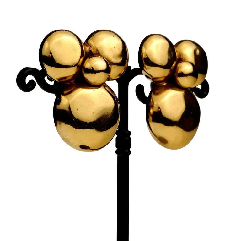 Vintage YVES SAINT LAURENT Ysl Flower Earrings For Sale 3