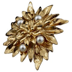 Vintage YVES SAINT LAURENT Ysl Flower Pearl Brooch