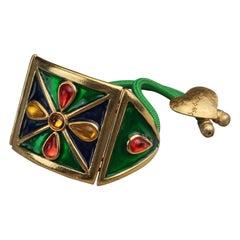 Vintage YVES SAINT LAURENT Ysl Flower Poured Glass Enamel Cord Cuff Bracelet