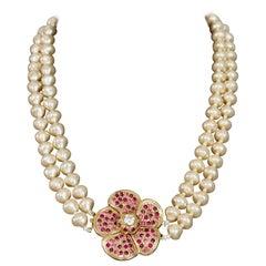 Vintage YVES SAINT LAURENT Ysl Flower Rhinestone Double Strand Pearl Necklace