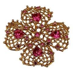 Vintage YVES SAINT LAURENT Ysl Flower Rhinestone Mesh Pendant Brooch