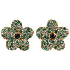 Vintage YVES SAINT LAURENT Ysl Flower Rhinestone Studded Earrings