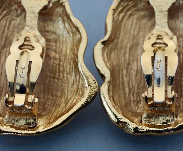 Vintage YVES SAINT LAURENT Ysl Free Form Earrings For Sale 6