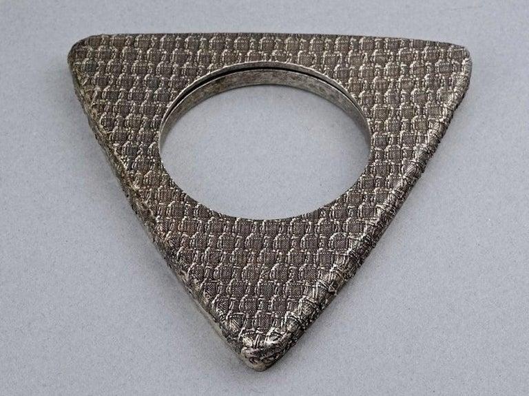 Women's Vintage YVES SAINT LAURENT Ysl Futuristic Textured Triangle Bangle Bracelet For Sale