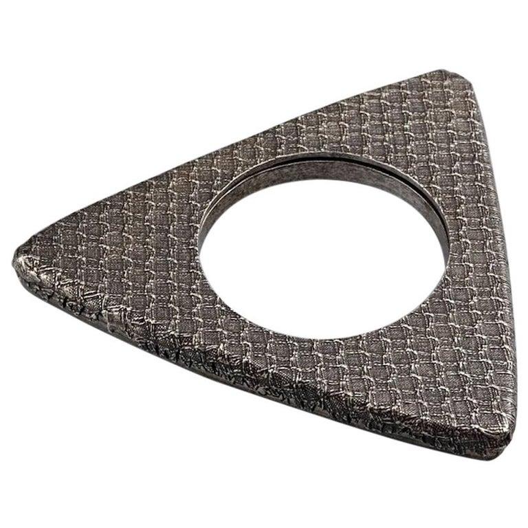 Vintage YVES SAINT LAURENT Ysl Futuristic Textured Triangle Bangle Bracelet For Sale