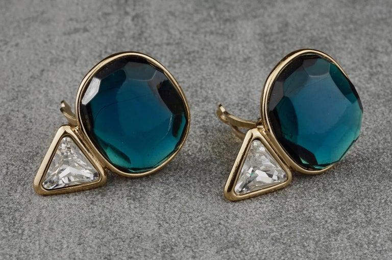 Women's Vintage YVES SAINT LAURENT Ysl Geometric Blue Faceted Stone Earrings For Sale