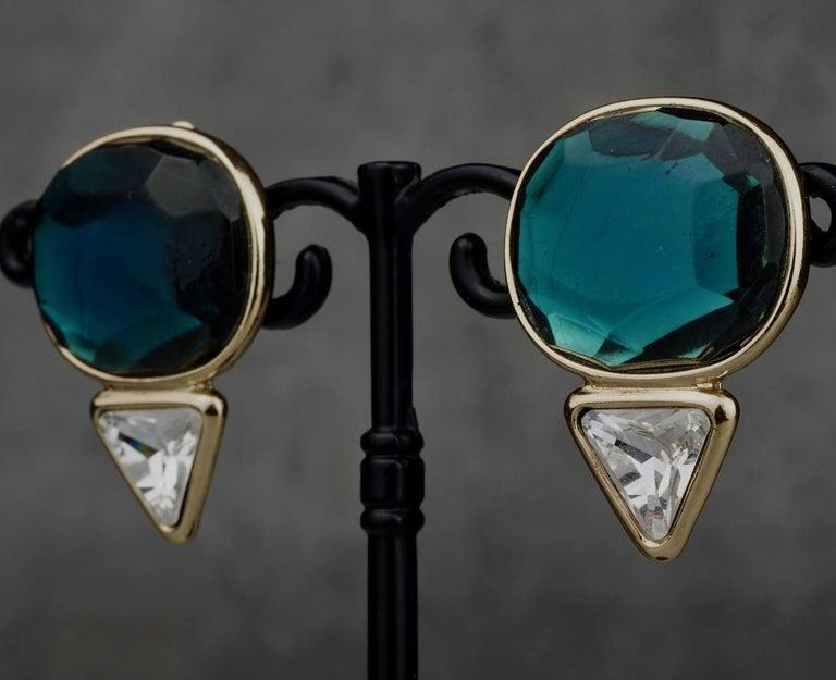 Vintage YVES SAINT LAURENT Ysl Geometric Blue Faceted Stone Earrings For Sale 1