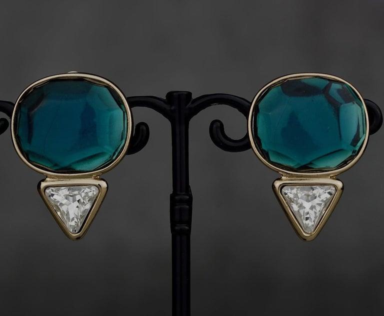 Vintage YVES SAINT LAURENT Ysl Geometric Blue Faceted Stone Earrings For Sale 2