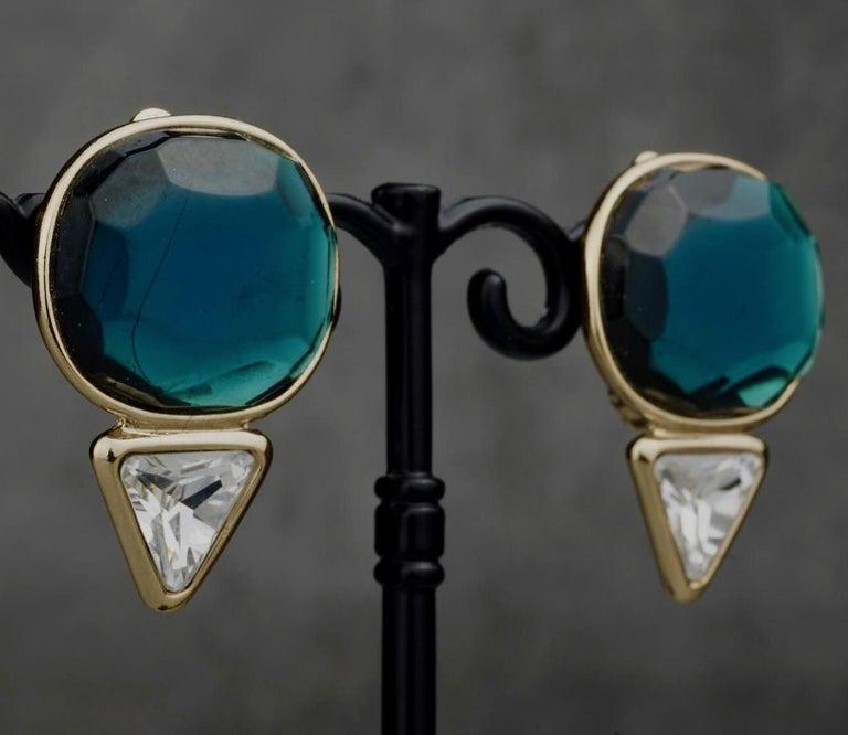 Vintage YVES SAINT LAURENT Ysl Geometric Blue Faceted Stone Earrings For Sale 3