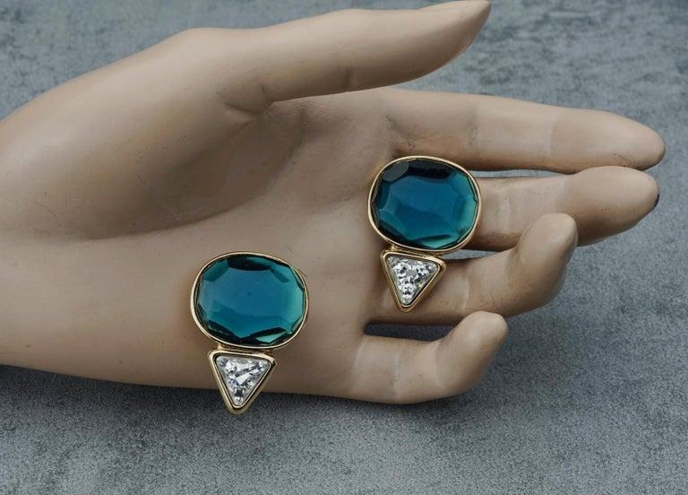 Vintage YVES SAINT LAURENT Ysl Geometric Blue Faceted Stone Earrings For Sale 4