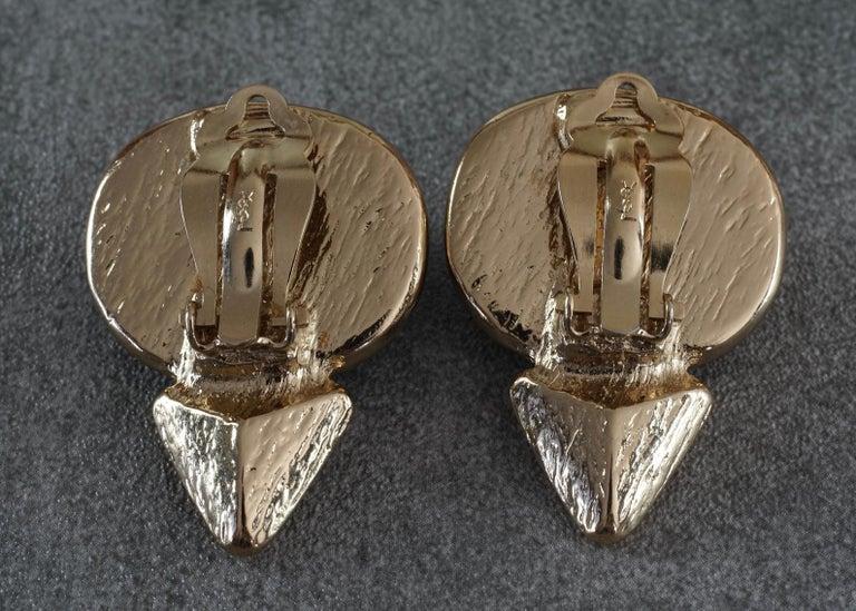 Vintage YVES SAINT LAURENT Ysl Geometric Blue Faceted Stone Earrings For Sale 5