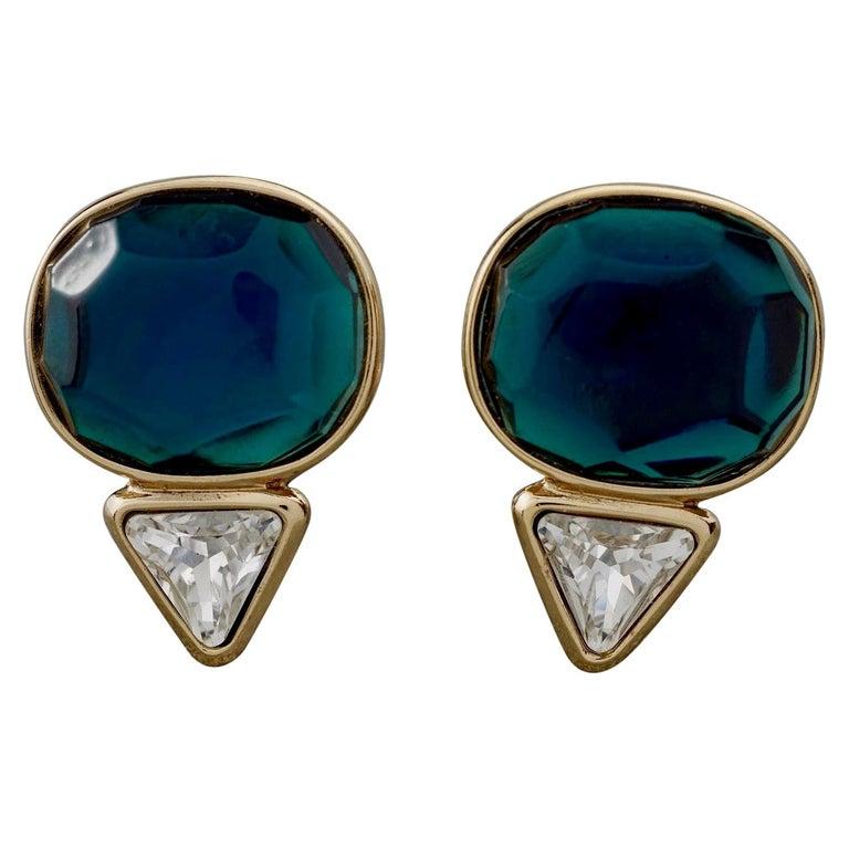 Vintage YVES SAINT LAURENT Ysl Geometric Blue Faceted Stone Earrings For Sale