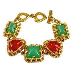 Vintage YVES SAINT LAURENT Ysl Geometric Jade Ruby Glass Poured Link Bracelet