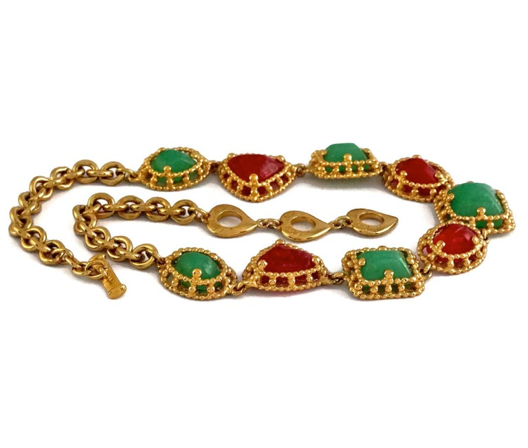 Women's Vintage YVES SAINT LAURENT Ysl Geometric Jade Ruby Glass Poured Link Necklace For Sale