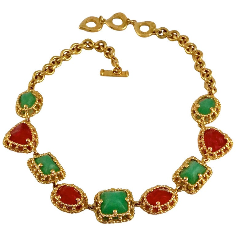 Vintage YVES SAINT LAURENT Ysl Geometric Jade Ruby Glass Poured Link Necklace For Sale