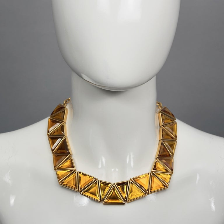 Vintage YVES SAINT LAURENT Ysl Geometric Resin Necklace by Robert Goossens  Measurements: Height: 0.90 inch (2.3 cm) Wearable Length: 14.17 inches to 17.32 inches (36 cm to 44 cm)  Features: - 100% Authentic YVES SAINT LAURENT. - Geometric resin in