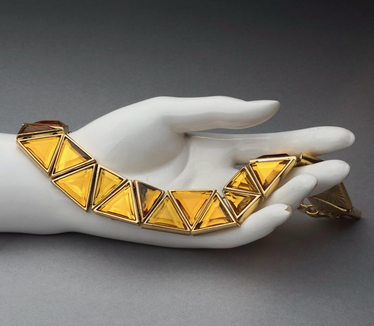Vintage YVES SAINT LAURENT Ysl Geometric Resin Necklace by Robert Goossens For Sale 2