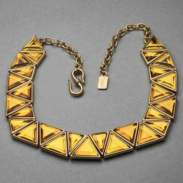 Vintage YVES SAINT LAURENT Ysl Geometric Resin Necklace by Robert Goossens For Sale 3